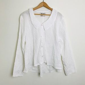 Flax Cotton Button Down Collard Blouse